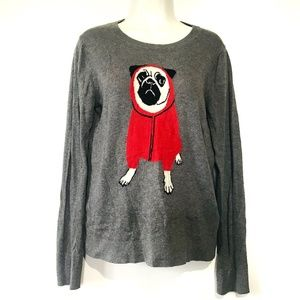 Banana Republic Pug Sweater Crew Neck Gray Medium